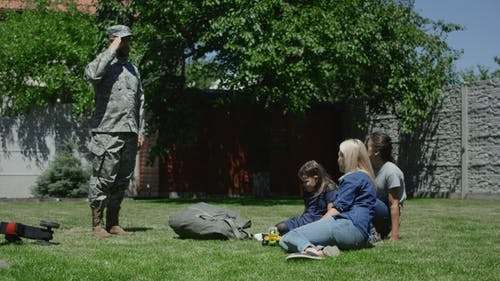 Military Man Spending Time with Family