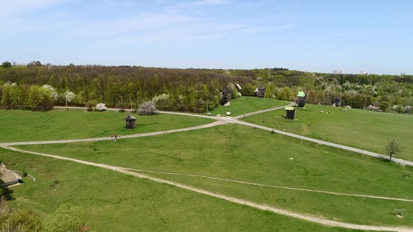 Thumbnail for Aerial View Over Traditional Ukrainian Village in Spring, Pirogovo, KIev