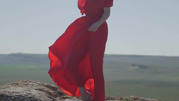 Thumbnail for Luxurious Barefoot Woman on the Background of the Horizon