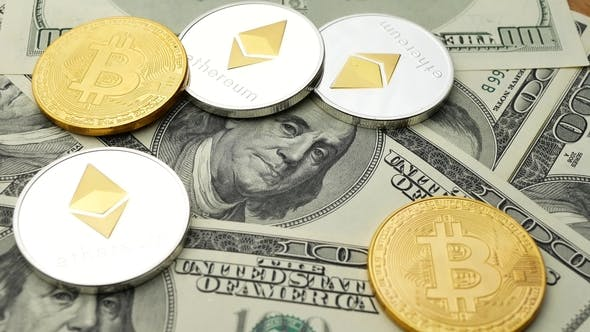 Thumbnail for Bitcoin and Ethereum Coins Rotating on Dollars