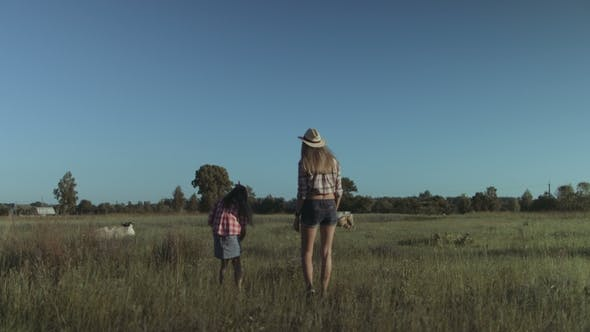 Thumbnail for Happy Family Walking in Summer Field in Countryside