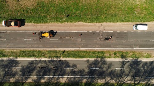 Aerial View of the Road Repair on the Highway