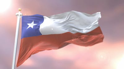 Flag of Chile at Sunset