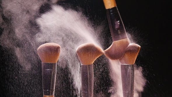 Thumbnail for Makeup Brushes with Pink Powder