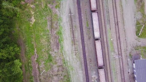 Aerial Footage Video of Train and Train Tracks