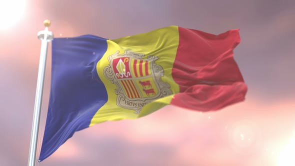 Flag of Andorra at Sunset