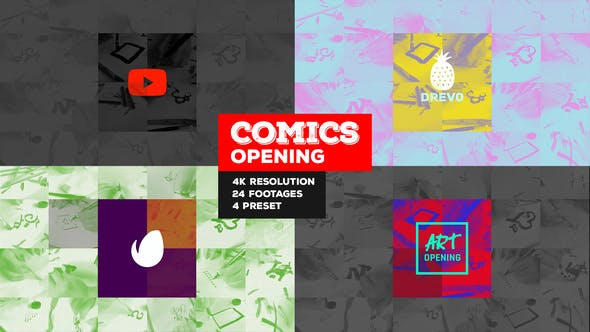 Thumbnail for Fast Comics Opening/ Art Intro/ Kids Cartoon Tv Broadcast Intro/ Teens Youtube Channel/ Family Tales