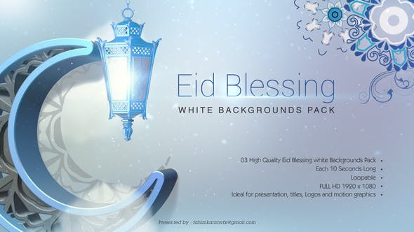 Thumbnail for Blessing Eid White Backgrounds Pack
