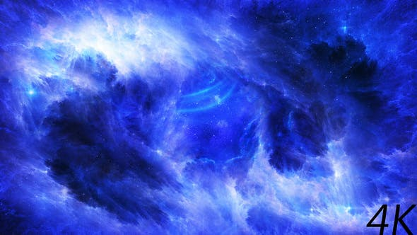 Flying Through Abstract Blue Space Nebula to Bright Energy Waves