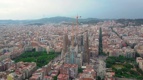 Thumbnail for Aerial View of Barcelona City at Sagrada Familia Neighbourhood in Barcelona Spain