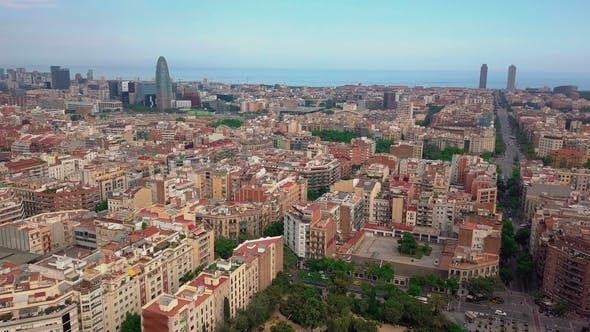 Thumbnail for Summer Day at Barcelona Cityscape Aerial Panorama Spain