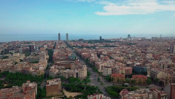 Thumbnail for Summer Day Barcelona Cityscape Aerial Panorama  Spain
