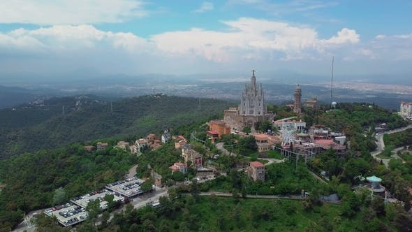 Thumbnail for Aerial Skyline of Barcelona From Tibidabo Mountain