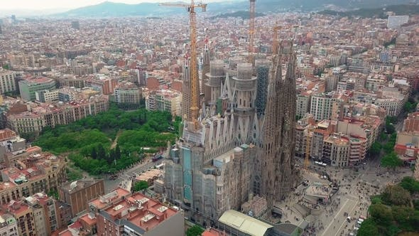 Thumbnail for Aerial View of Barcelona City at Sagrada Familia Neighbourhood in Barcelona, Spain