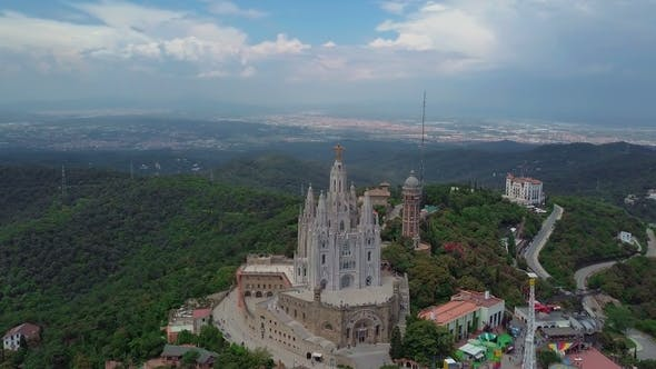 Thumbnail for Aerial View of Tibidabo Monument and Amusement Park