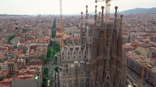 Thumbnail for Aerial View La Sagrada Familia - the Impressive Cathedral Designed By Gaudi