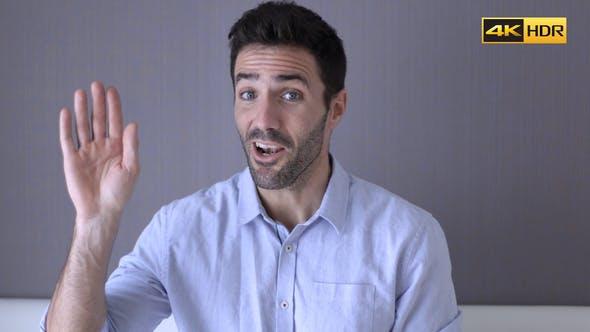 Thumbnail for Hello, Young Man Waving Hand