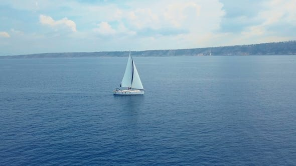 Thumbnail for Yacht Sailing on Opened Sea. Sailing Boat. Yacht From Drone