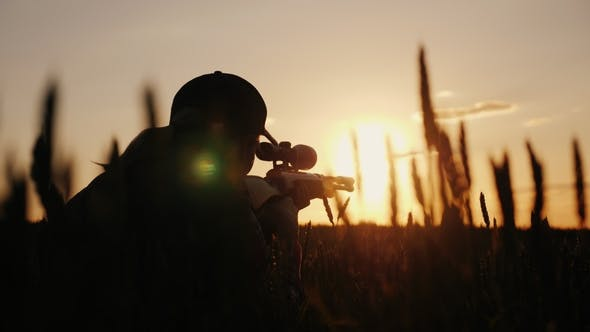 Thumbnail for A Sniper Rifles From a Rifle with an Optical Sight. On the Sunset. Sports Shooting and Hunting