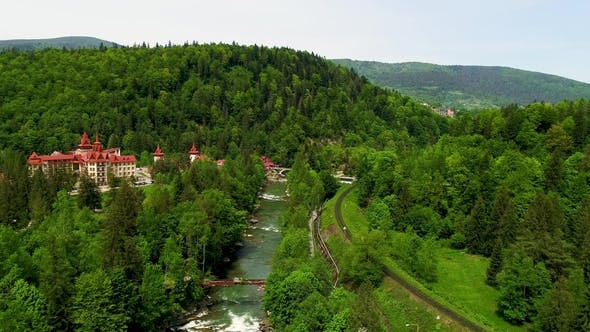 Thumbnail for Aerial View of Beautiful Mountain River in Summer