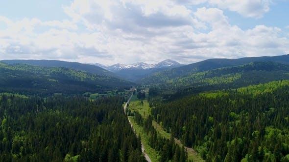 Thumbnail for Aerial View of Road To Mountain Hoverla, Ukraine Carpathian Mountains