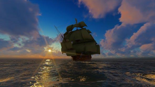 Thumbnail for Large Sailing Ship At Sunset