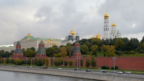 Thumbnail for Picturesque Landscape of Moscow with Kremlin Walls and Golden Domes of Churches
