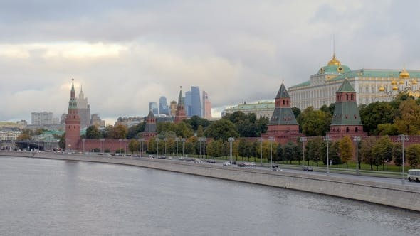 Thumbnail for Picturesque Landscape of Moscow, Kremlin Walls in Morning Time, View From Bridge