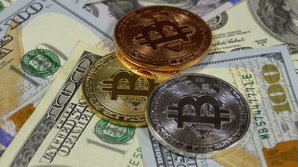 Bitcoin Coins Btc And Dollars Rotate