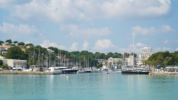 of Cumulus Clouds Over Mountains at Port Risto on the Coast of Mallorca