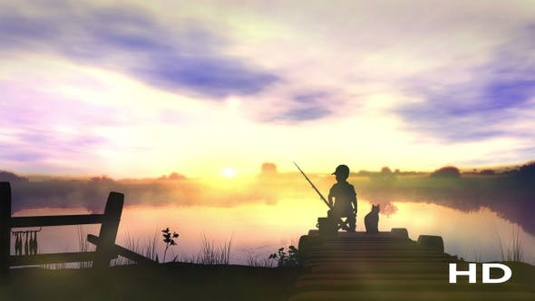 Thumbnail for The Boy Is Fishing At Sunrise HD