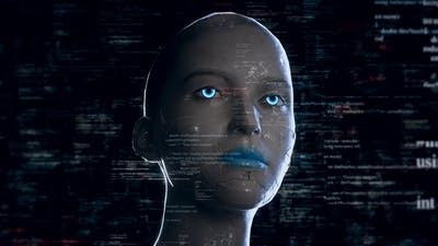 Humanoid Android Robot With Artificial Intelligence Reading Programming Codes