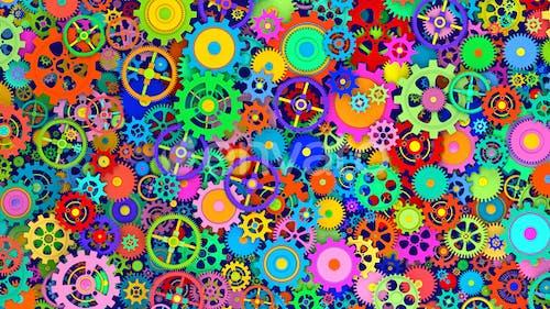 Colorful Cogwheels Background