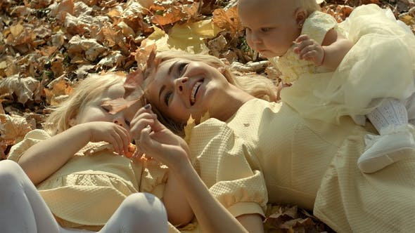 Thumbnail for Happy Family Mother and Children in Autumn Park