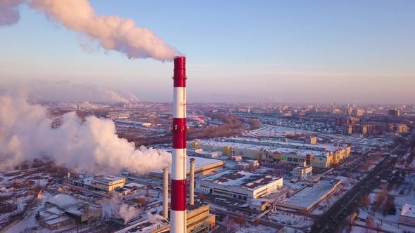 Thumbnail for Smoking Chimney on Industrial Plant Aerial Landscape. Drone View Smokestacks on Industrial Area