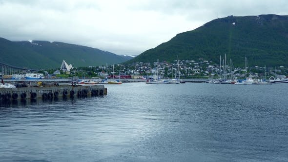 Thumbnail for View of a Marina in Tromso, North Norway