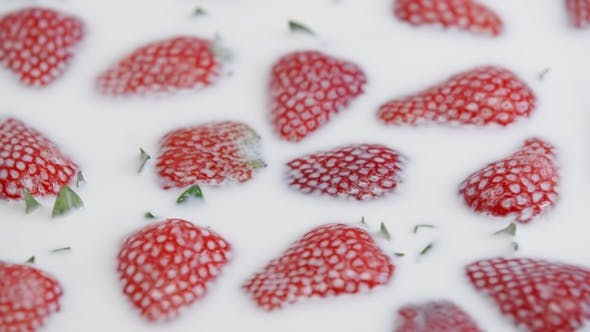 Cover Image for of Fresh Strawberry in Milk. Summer Berries in White Cream