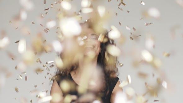 Thumbnail for Beautiful Hispanic Woman Gold Glitter Confetti