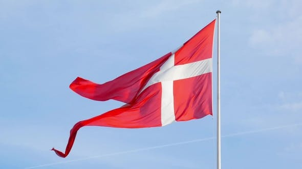 Thumbnail for Waving Flag of Denmark in Background of Blue Sky
