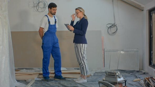 Thumbnail for Construction Manager and Engineer Working Using Tablet on Building Site