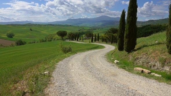 Tuscany Landscape with Farmhouse and Cypresses