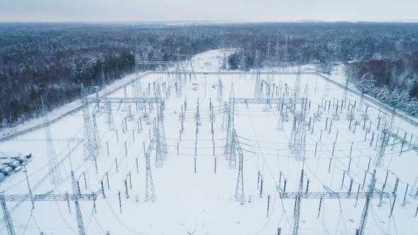 Snowed Territory of High Voltage Electricity Station