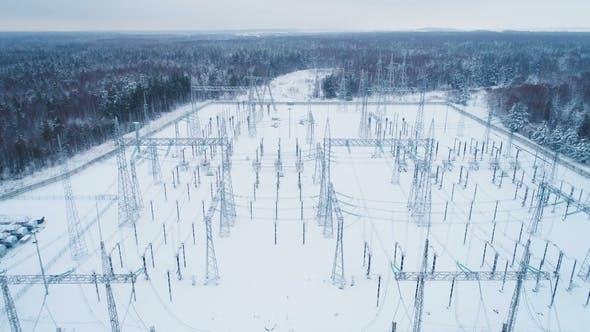 Thumbnail for Geschneites Gebiet der Hochspannungs-Elektrizitätsstation