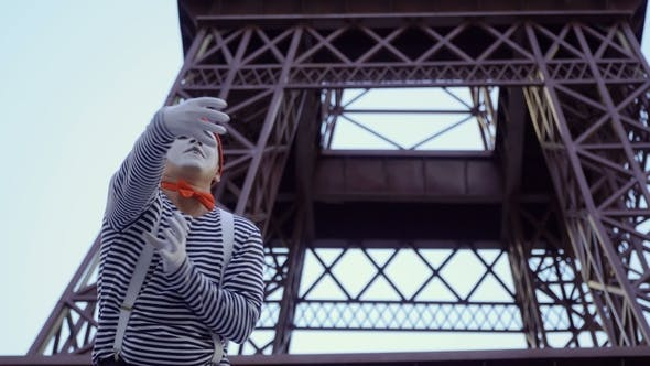 Thumbnail for Funny Mime at Eiffel Tower Background