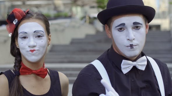 Thumbnail for Young People Mimes Playing Their Expressions on Camera