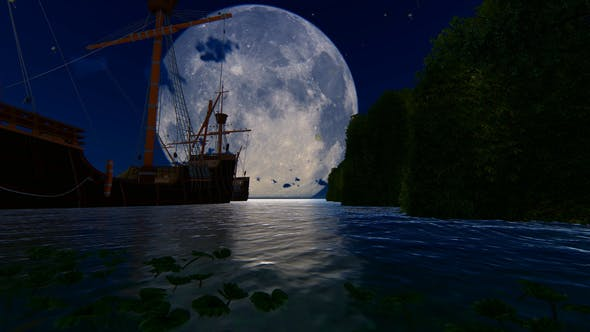 Cover Image for Old Ship At Night And Big Moon