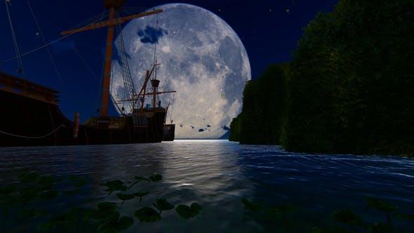 Thumbnail for Old Ship At Night And Big Moon