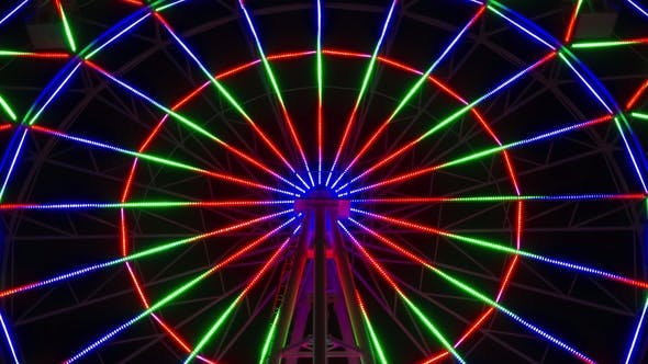 Thumbnail for with Zoom, Colorful Ferris Wheel at Night.