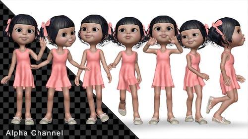 Little Girl 3d Character (7-Pack)
