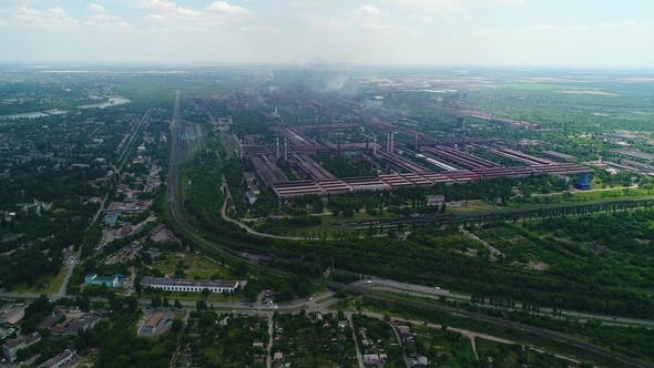 Thumbnail for Aerial Panoramic View of the Industrial City Pollution and Smoke.